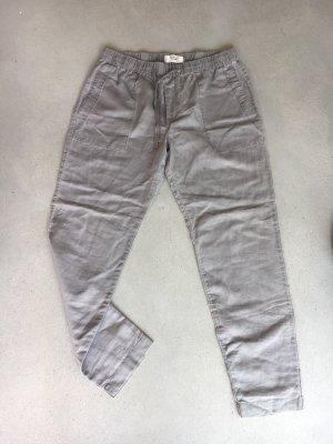 Mango casual Pantalón de lino gris claro-beige