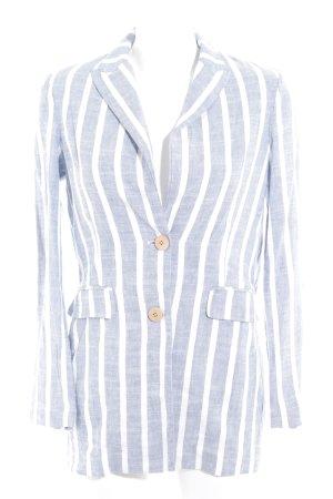 Mango casual Long-Blazer weiß-stahlblau Streifenmuster Casual-Look