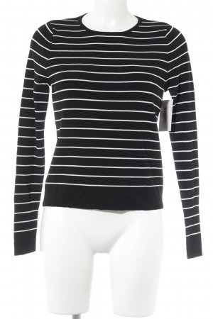 Mango casual Long Sweater black-white striped pattern simple style