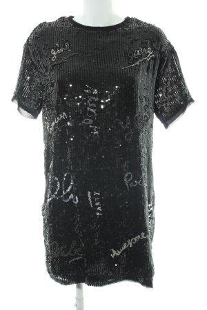 Mango casual Pailettenkleid schwarz-silberfarben extravaganter Stil