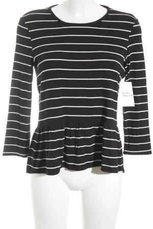 Mango casual Rippshirt schwarz-weiß Streifenmuster schlichter Stil
