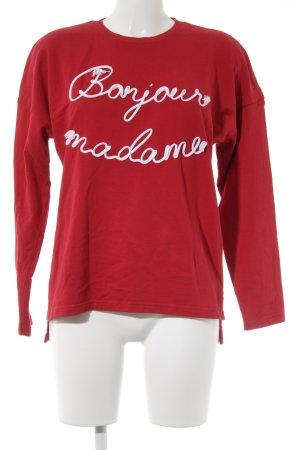 Mango casual Rundhalspullover rot-weiß Schriftzug gestickt Casual-Look