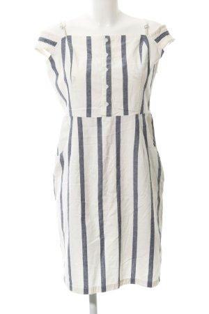 Mango casual schulterfreies Kleid wollweiß-graublau Streifenmuster Marine-Look