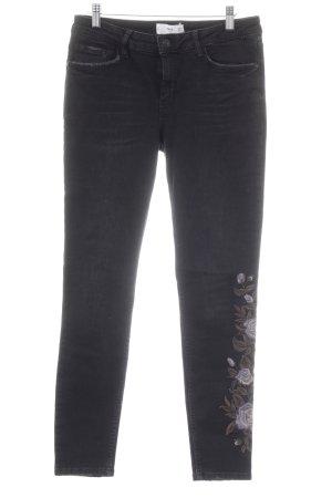 Mango casual Skinny Jeans schwarz Blumenmuster Casual-Look