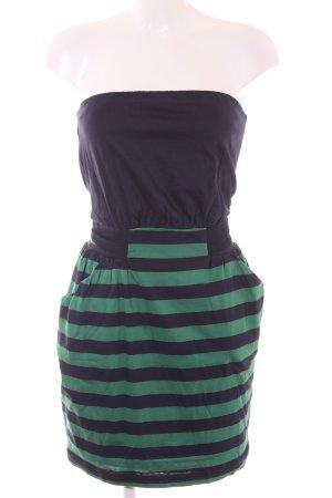 Mango Casual Sportswear Bandeaukleid dunkelblau-grün Ringelmuster Casual-Look