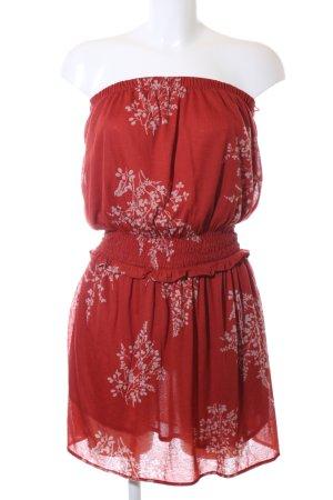 Mango Casual Sportswear Bandeaukleid rot Blumenmuster Casual-Look