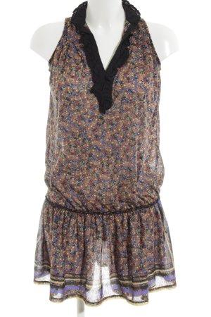 Mango Casual Sportswear Blusenkleid schwarz-lila Blumenmuster Casual-Look