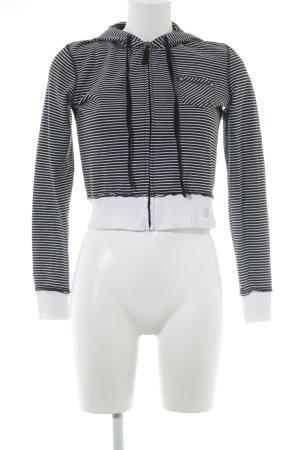Mango Casual Sportswear Kapuzenpullover weiß-schwarz Streifenmuster Casual-Look