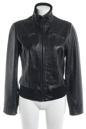 Mango Casual Sportswear Kunstlederjacke schwarz Biker-Look