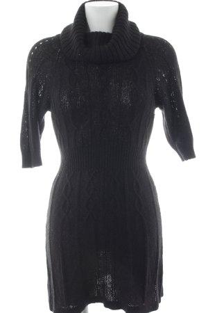Mango Casual Sportswear Kurzarmkleid schwarz Zopfmuster Street-Fashion-Look