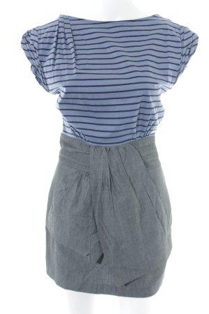 Mango Casual Sportswear Kurzarmkleid stahlblau-grau Streifenmuster Casual-Look