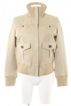 Mango Casual Sportswear Lederjacke creme Casual-Look