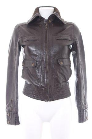 Mango Casual Sportswear Lederjacke dunkelbraun Biker-Look