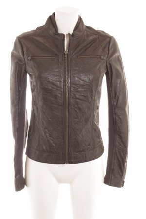 Mango Casual Sportswear Lederjacke dunkelbraun Casual-Look