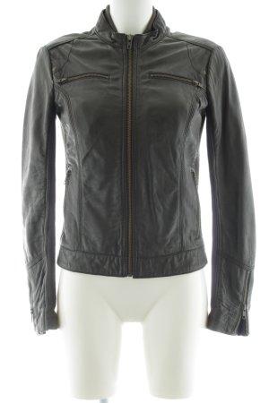 Mango Casual Sportswear Lederjacke schwarz Casual-Look