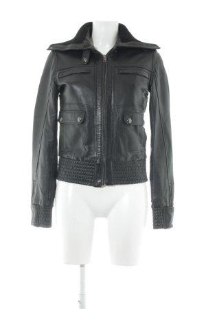 Mango Casual Sportswear Lederjacke schwarz Biker-Look