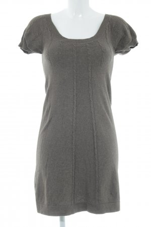 Mango Casual Sportswear Sweater Dress grey brown cable stitch casual look