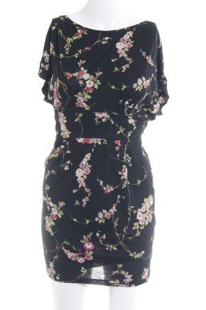 Mango Casual Sportswear Stretchkleid schwarz florales Muster Casual-Look