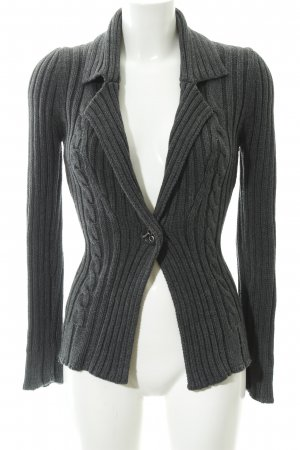 Mango Casual Sportswear Strickjacke dunkelgrau Zopfmuster Casual-Look