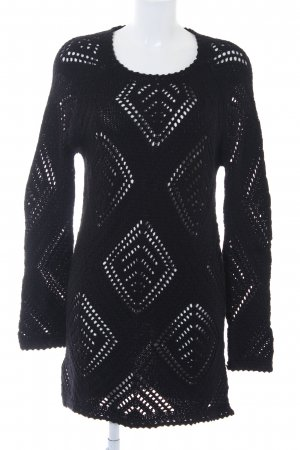 Mango Casual Sportswear Strickkleid schwarz Lochstrickmuster Casual-Look