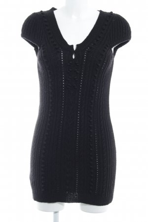 Mango Casual Sportswear Strickkleid schwarz Zopfmuster Casual-Look