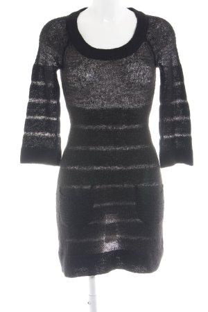 Mango Casual Sportswear Strickkleid schwarz Streifenmuster Casual-Look