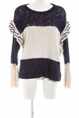 Mango casual Knitted Sweater natural white-dark blue striped pattern casual look