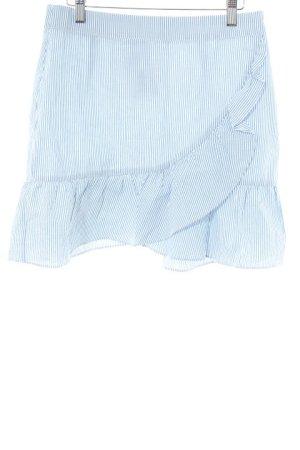 Mango casual Gelaagde rok wit-lichtblauw gestreept patroon casual uitstraling