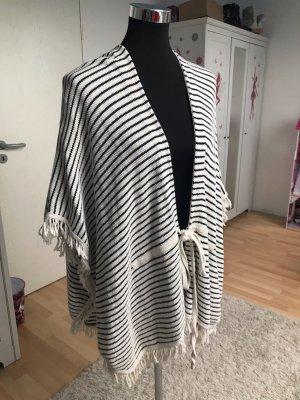 Mango Long Knitted Vest white-black