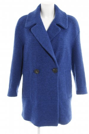 Mango casual Wollmantel blau Webmuster Casual-Look