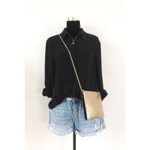 Mango Chiffon Style Bluse L XL 38 40 42 schwarz langärmelig transparent luftig Basic Shirt Tunika