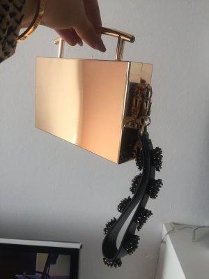 Mango Clutch gold verspiegelt aus Metall mit Strasshenkel neu