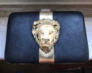 Mango Clutch Handtasche Abendtasche Umhängetasche Löwenkopf schwarz gold Kette Löwe
