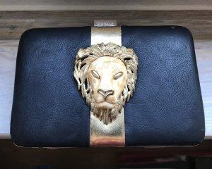 Mango Clutch schwarz gold mit Löwen Kopf