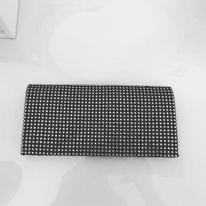 MANGO Clutch schwarz mit Strasssteinen und Spiegel innen