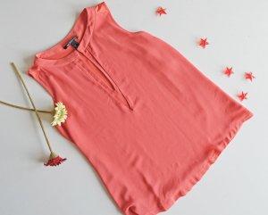 MANGO Collection Coral Korallfarbene Bluse Top mit Chiffonlayer EUR S