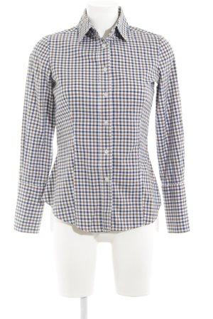Mango collection Hemd-Bluse hellbraun-stahlblau Karomuster klassischer Stil