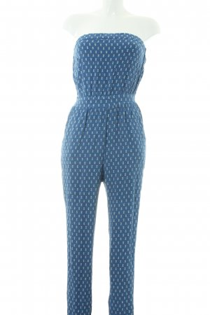 Mango collection Jumpsuit steel blue-white allover print beach look