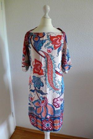 Mango Collection Kleid Asia Blumen Blüten Koi Gr. S XS 34 36 blau rot nude