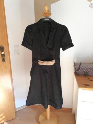 Mango Collection Kleid Blusenkleid XS 34 schwarz Bast Gürtel