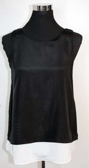 MANGO Collection Layering Top Bluse in Schwarz-Weiß Gr. S wie 36