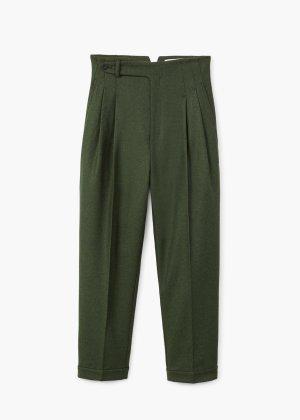 MANGO Commited Kollektion - Grüne Bundfaltenhose aus Wolle