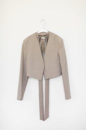 Mango Cropped Blazer Jacke Grau/Beige Vintage Look Boxy Gr. M