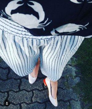 Mango Culottes Hose weit Midi Streifen gestreift Highwaist Maritim Leinenartig