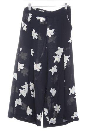 Mango Culotte blanc cassé-bleu foncé motif de fleur style décontracté