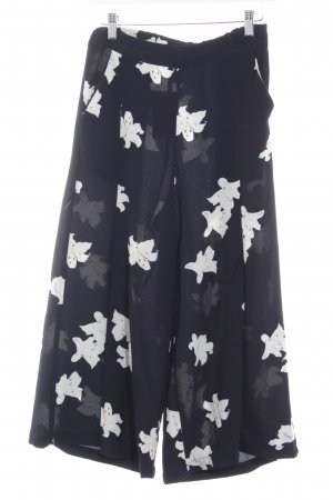 Mango Culottes natural white-dark blue flower pattern casual look