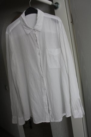 Mango Blouse en crash blanc coton