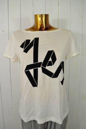 MANGO Damen T-Shirt U-Ausschnitt Ecru Schwarz Samt Baumwollgemisch Knöpfe Gr.M