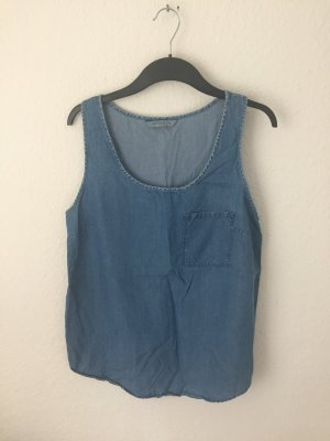 Mango Denim Jeans Top Blau