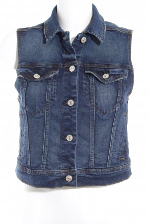 Mango Denim & Tees Denim Vest dark blue-gold orange casual look